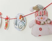 Christmas Bunting, OOAK Christmas garland, paper bunting, recycled banner, upcycled bunting, snowman, Christmas decorations
