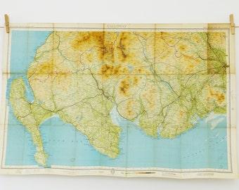 Galloway map, vintage map, map of Galloway, Scotland, Bartholomew's map, Wall Map, Vintage decor, Large map of Shetland