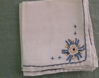 Vintage Napkins Ecru Linen with Wide Blue and Gold Starburst Embroidery 3 Napkins
