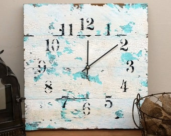 Reclaimed Barn Wood Clock Aqua and White 16x16 Recycled Like Pallet Barnwood Rustic Primitive Shabby Cottage Chic Handmade Christmas Gift