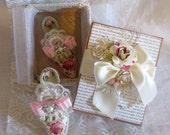 Marie Antoinette Inspired Paper Shoes in Handmade Box, Handmade Ballroom Slipper, Paper Shoe Ornament, Home Decor Art OOK , Mothers Day Gift