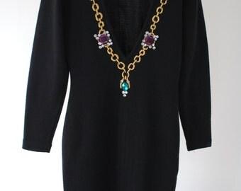 Black Vintage 80s Party Knee-Length Dress