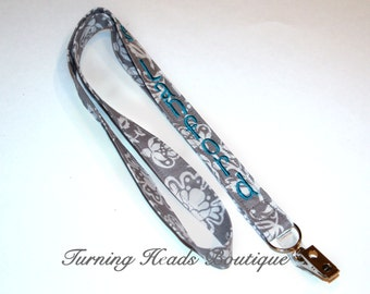 Fabric Lanyard ID Badge Holder / Design your own /Personalized / Monogrammed/ Key Strap