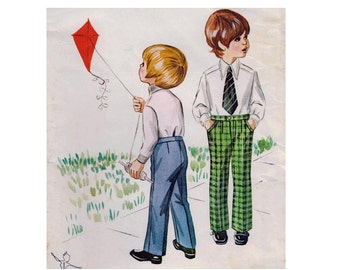 "Toddler Child Boy's Pants Trousers Slacks Sewing Pattern Fly Front Straight Leg Vintage UNCUT Sizes 2 4 6 Waist 21.25-22.75"" Kwik Sew 338 S"