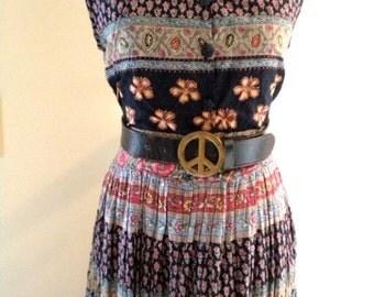 VINTAGE Hippie Woodstock  Sleeveless Sundress