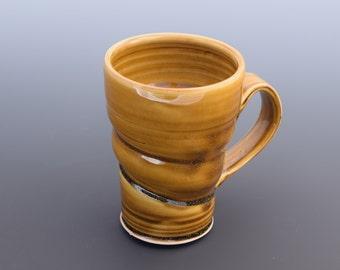 Large Handmade Ceramic Amber Twist Mug
