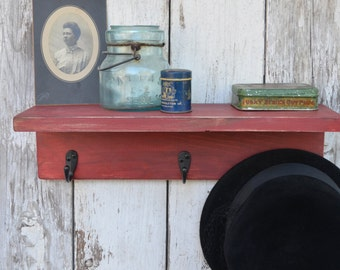 Wood Shelf Bathroom Kitchen Distressed Cottage Style Red Cranberry Barn wood with Hooks