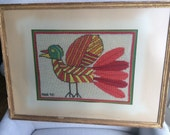 Framed Bird Needlework - Reserved for Julie