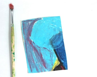 abstract blue drawing- yellow blue oil pastel- basic colors- bright colored art- yellow  turquoise art- imagination - home wall art