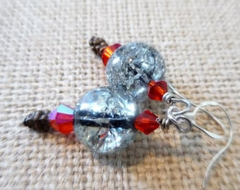 Red and Black Glass Crackle Bead Earrings, Silver-Plated Ear Wires, Copper Beads, OOAK Jewelry, AB Crystal Bicone Jewelry