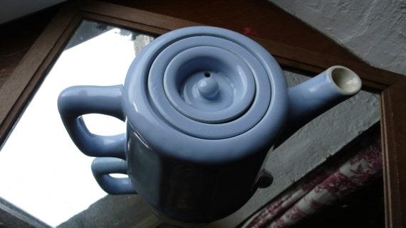 Baby Blue Teapot, Vintage Coffee Pot, 1950s Kitchenalia, French Vintage Interiors, Vintage Round Ceramic Teapot, Retro Blue teapot