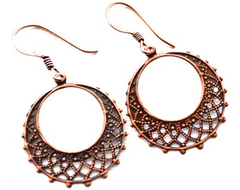 Copper Filigree Hoops . Earrings
