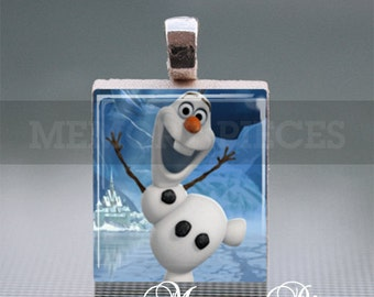 Frozen 'Olaf' Scrabble Tile Pendant with Silver Ball Chain