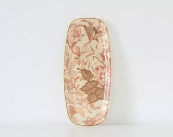 Vintage pink floral fibreglass tray Arnold Designs