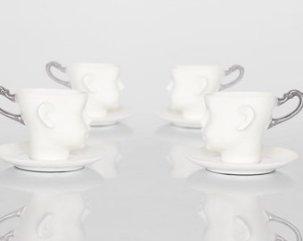 Set of four Whimsical doll head cups - white porcelain and silver artisan cups with saucer, whimsical ceramic design