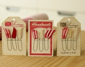 Christmas Themed Handmade Ribbon Paper Clips for scrapbooking, office, bookmark, teacher gifts & stocking stuffers