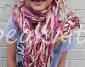 Arm Knitted Recycled Silk Sari and Chiffon Scarf or Shawl Accessory - Fair Trade - One of A Kind ~ Lightweight ~ Shades of Pink and Cream