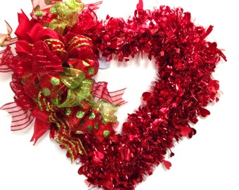 """Valentines Day Wreath Red w/ LARGE Custom Designed Bow ( Approx. 15"""") (BOWS may vary slightly)"""