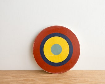 Target Circle Art Block -  Red/Blue/Yellow - bull's eye, vintage look, colorway #7