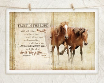 Horses V-Trust in the Lord 12x18 Art Print -Inspirational, Photograph, Country, Religious, Home Decor -Horse,Scripture -Brown,Black,Tan,Gold