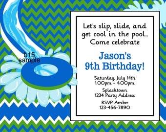 Water Slide Birthday Invitation//Pool Party Invitation//Birthday Party//Digital JPEG File #15