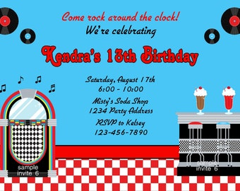 50s Invitation - Soda Shop Jukebox Invitation - Red or Pink Printable Birthday Party Invites - Digital JPEG File #5/6