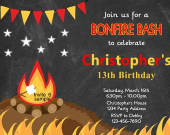 Campfire Birthday Invitation - Bonfire Invitation - Chalkboard - Photo Option Personalized Birthday Party Invite - Printable JPEG File #5/6