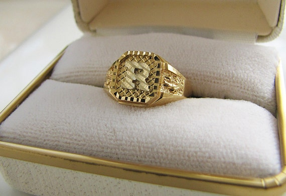 R Initial Signet 14k Gold Ring Size 5 75 Two Tones White Gold