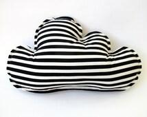 Cloud Pillow - Black and White Stripes - Scandinavian Nursery Decor