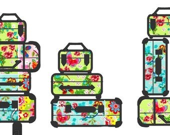 Suitcases Stacks, set of 3 types - machine embroidery applique designs, multiple sizes INSTANT DOWNLOAD