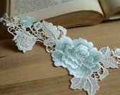 Light Blue Lace Appliques Floral Embroidered Patches 1 pcs High Quality