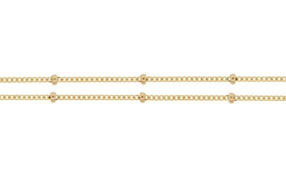 14kt Gold Filled 1mm Satellite Chain with 2mm Bead - 20ft (2316-20)  15% discounted Price