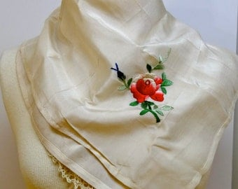 Vintage Embroidered Ivory Silk Scarf