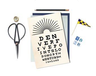 Denver, Colorado, Poster, Eye Chart, Print, Denver Art, Housewarming Gift