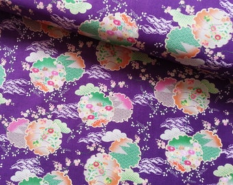 Japanese Fabric Cotton Yuwa - Japanese Flower Purple - a yard