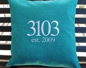 House Number Outdoor  Pillow Cover  in Teal