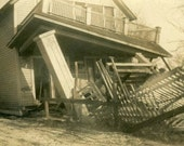 "Vintage Photo ""Tornado Aftermath"" Snapshot Antique Photo Old Black & White Photograph Found Paper Ephemera Vernacular - 93"