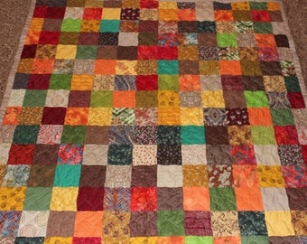 Custom Made Quilt ~ Earth Tones Patchwork TWIN QUILT ~ Handmade Custom Quilt ~ Everything Supplied!!!