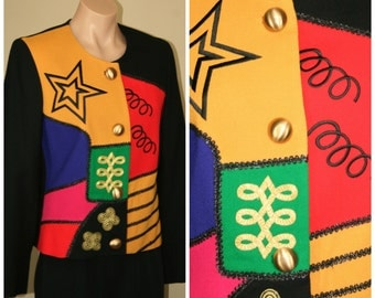 Vintage RETRO 80s LILLI ANN Jewel Tone Color Block Glam Novelty Jacket size S M