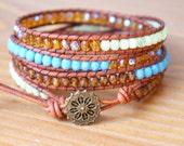 Bohemian beaded wrap bracelet, Genuine Leather, brown, blue, lime, green, hipster, wide, trendy jewelry, flower, gift idea, SALE