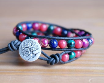 Gemstone wrap bracelet, Multicolor Bohemian, Genuine Leather, Tree of Life, trendy jewelry, boho chic, red, green, purple, hipster