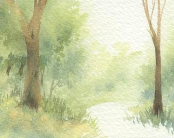 Original ACEO watercolor painting - Vanishing in light