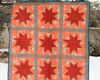 Red and Brown Wonky Star Quilt - Lap Quilt  - Throw Quilt