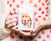 Hamster Pet Mug // hamster Christmas gift, hamster gift, tattoo gift, coffee cup, tea cup, coffee mug, hamster design // 'Tattoo Hamster'