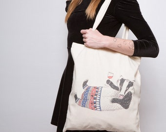 Badger Tote Bag (badger birthday gift, badger gift, foodie gift, wine lover gift, wine bag, alcohol gift, boyfriend gift, fathers day gift)