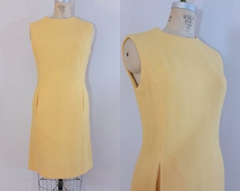 1960s Rise and Shine Dress // Vintage 60s Yellow Wool Sheath Dress // Medium