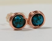wire wrapped studs earrings Turquoise Studs earrings, Tiny Earrings,Solid Copper  Post Earrings,