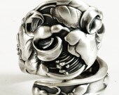 Stunning Fuchsia Spoon Ring with Flower Blossoms in Sterling Silver Ring, Handmade & Adjustable to Your Size (3199)