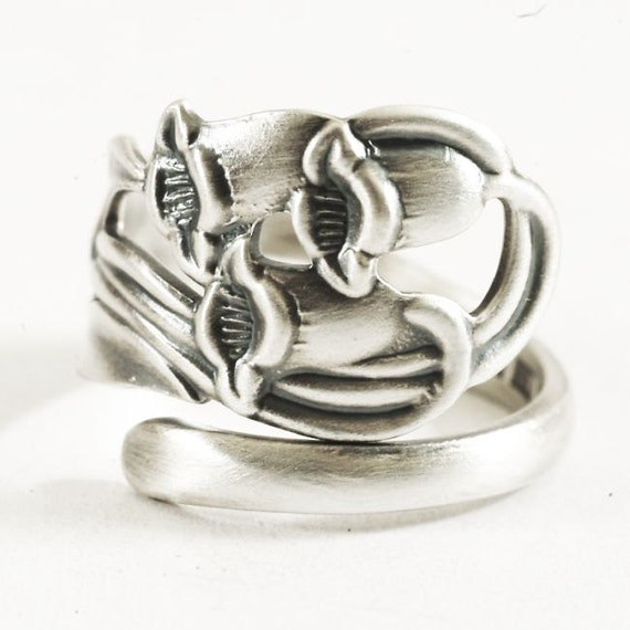bluebell silver spoon ring in nouveau floral