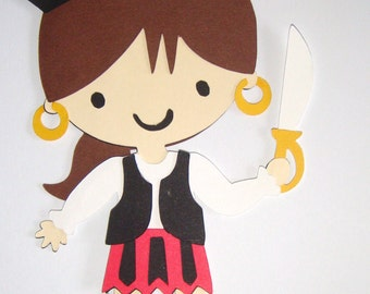 Pirate Girl Paper Die Cut Paper Doll Scrapbook Embellishment